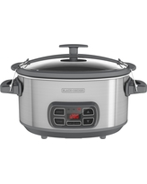 Black+decker 7qt Programmable & Digital Electric Slow Cooker With Locking Lid, Silver/Gray