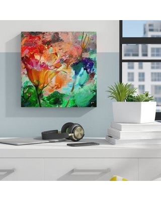"""Ebern Designs 'Painted Petals LXI' Graphic Art Print on Canvas in Red/Green/Orange W001337850 Size: 30"""" H x 30"""" W x 1.5"""" D"""