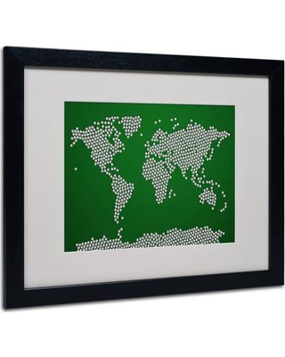 "Trademark Art ""Soccer Balls World Map"" by Michael Thompsett Framed Graphic Art MT0247- Frame: Black Size: 16"" H x 20"" W x 0.5"" D"
