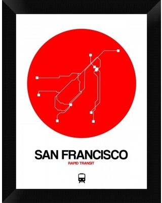 'San Francisco Red Subway Map' Framed Graphic Art Print on Canvas