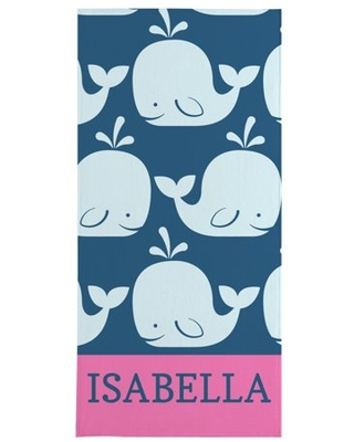 Personalized Whale Of A Tale Beach Towel - Pink