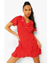 Womens Woven Polka Dot Wrap Front Ruffle Tea Dress - Red - 10