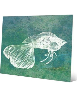 "Click Wall Art 'Turquoise Guppy' Painting Print BHS0000361MTL Size: 11"" H x 14"" W x 1"" D"