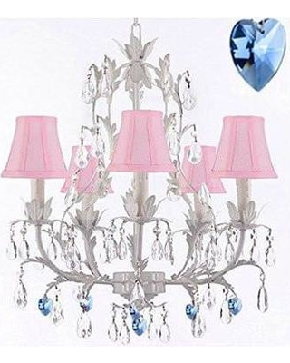 House of Hampton Moldenhauer 5-Light Shaded Chandelier HMPT3555 Crystal Color: Blue Shade Color: Pink