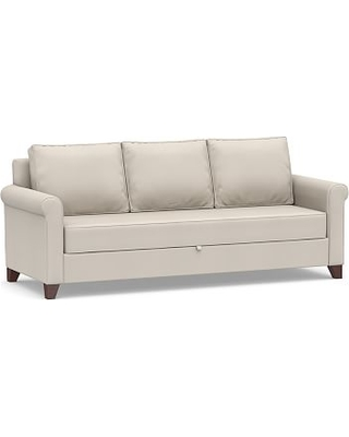 Cameron Roll Arm Upholstered Pull-Up Platform Sleeper Sofa, Polyester Wrapped Cushions, Performance Twill Stone