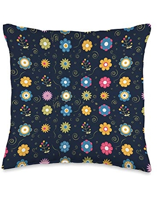 Floral Decorative and Throw Pillows Floral Pattern Navy Blue Throw Pillow, 16x16, Multicolor
