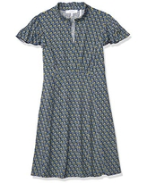 Lark & Ro Women's Lightweight Ruffle Short Sleeve Split Neck Fit and Flare Dress, Dark Navy Multicolor Floral, 0
