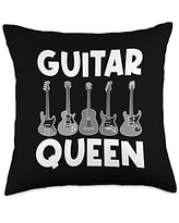 Best Guitar Player Music Band Instrument Clothes Cool Guitar Gift For Women Mom Acoustic & Electric Guitarist Throw Pillow, 18x18, Multicolor