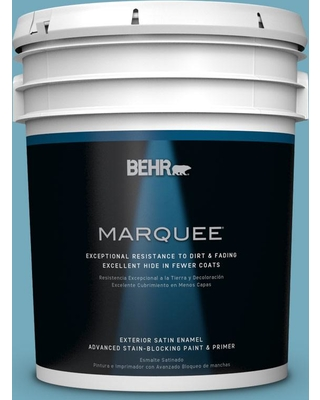 BEHR MARQUEE 5 gal. #S460-4 Snowboard Satin Enamel Exterior Paint and Primer in One
