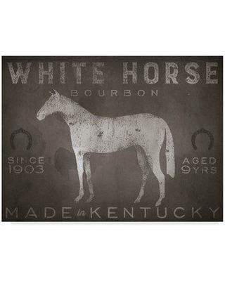 """Millwood Pines 'White Horse with Words' Graphic Art Print on Wrapped Canvas MLWP4722 Size: 18"""" H x 24"""" W x 2"""" D"""