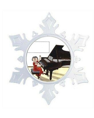 The Holiday Aisle Personalized Friendly Folks Cartoon Snowflake Piano Player Recital Christmas Holiday Shaped Ornament X112653760