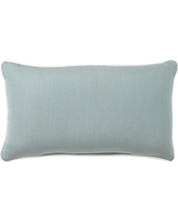 "Sunbrella(R) Contrast Piped Solid Indoor/Outdoor Lumbar Pillow, 16 x 24"", Spa"