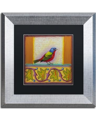 """Trademark Fine Art 'Painted Bunting' Rachel Paxton Framed Painting Print on Canvas ALI2474-S1 Size: 11"""" H x 11"""" W x 0.5"""" D Matte Color: Black"""