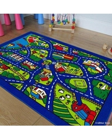 """AllStar Rugs Street Map Blue/Green Area Rug 727000-stbl- Rug Size: Rectangle 3'3"""" x 4'10"""""""