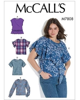 6-8-10-12-14 McCalls Patterns McCalls Easy Womens Bell Sleeve Pullover Top Sewing Patterns White Sizes 6-14