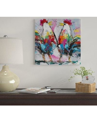 """East Urban Home 'Let's Talk About Chicken' by Art Fiore Graphic Art Print on Wrapped Canvas EUME4085 Size: 12"""" x 12"""" x 1.5"""""""