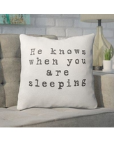 "Ivy Bronx Essary He Knows When You are Sleeping Outdoor Throw Pillow IVBX2278 Size: 16"" x 16"""