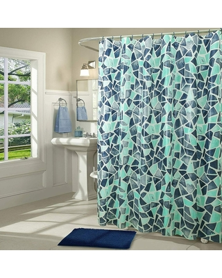 14 Piece Peva Shower Curtain Set with Rug and Rings Stain Glass (Green - Regular)