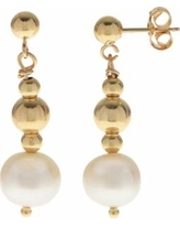 PearLustre by Imperial 14k Gold Filled Freshwater Cultured Pearl Beaded Drop Earrings, Women's, White
