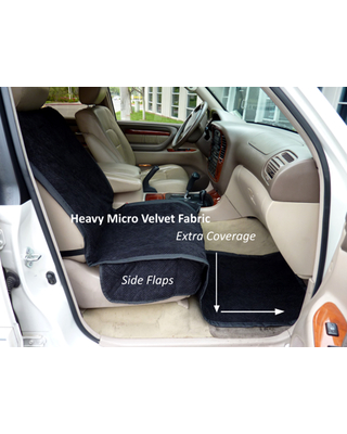 """Covered Living Micro Velvet Quilted and Padded Dog Car Single Seat Cover with Comfort Fabric and Non-Slip Back Best for Car Truck and SUV - Travel With Your Pet Always an Option - 21""""x72"""", BLACK"""