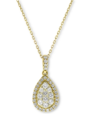 Diamond Teardrop Cluster Halo Pendant Necklace (5/8 ct. t.w.) in 14k Gold or 14K White Gold