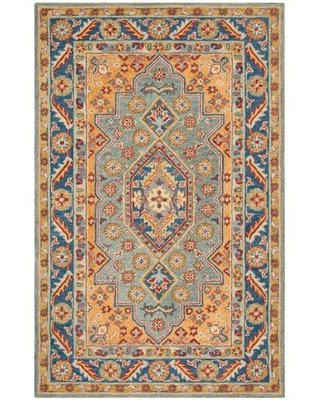 Charlton Home Clymer Antiquity Hand-Tufted Wool/Cotton Blue/Gold Area Rug BI009064 Rug Size: Rectangle 3' x 5'