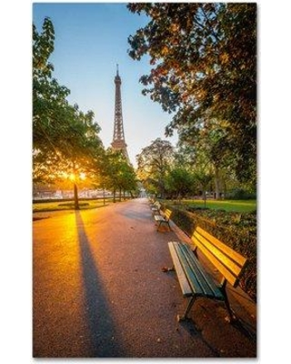 "Trademark Art ""Crazy Morning Light Paris"" by Mathieu Rivrin Photographic Print on Wrapped Canvas RV0005-C Size: 47"" H x 30"" W x 2"" D"