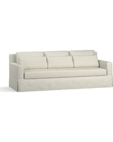"York Square Arm Slipcovered Deep Seat Grand Sofa 94"" with Bench Cushion, Down Blend Wrapped Cushions, Premium Performance Basketweave Pebble"