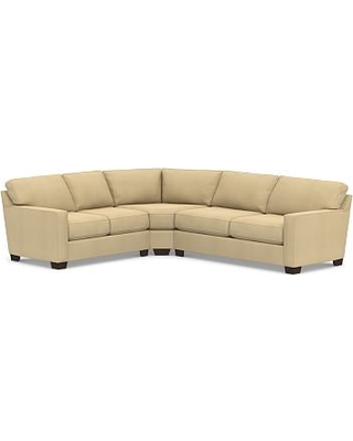 Buchanan Square Arm Upholstered Right Arm 3-Piece L-Shaped Wedge Sleeper Sectional, Polyester Wrapped Cushions, Performance Everydaysuede(TM) Oat