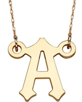 """10kt Gold Initial Pendant Necklace, 20"""", Select Letter"""