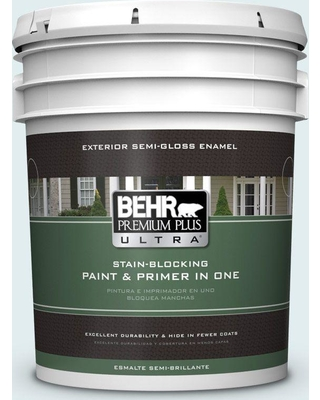 BEHR ULTRA 5 gal. #530C-1 Club Soda Semi-Gloss Enamel Exterior Paint and Primer in One