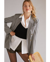Relaxed Double-Breasted Blazer By Favorite Daughter in Grey Size L