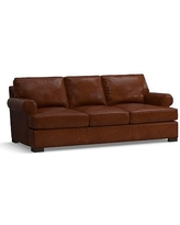 Townsend Roll Arm Leather Sofa, Polyester Wrapped Cushions, Leather Statesville Molasses