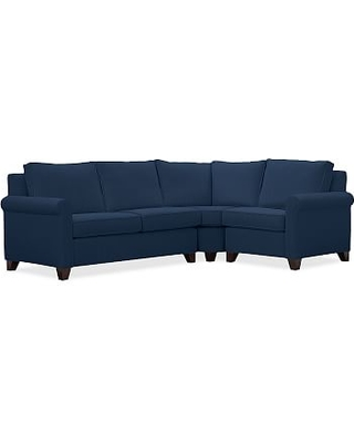 Cameron Roll Arm Upholstered Left Arm 3-Piece Wedge Sectional, Polyester Wrapped Cushions, Performance Everydayvelvet(TM) Navy