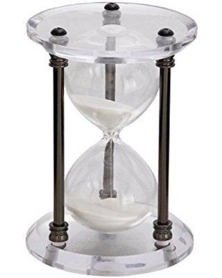 Deco 79 53421 Acrylic and Metal 30-Minute Hourglass Sand Timer, Black
