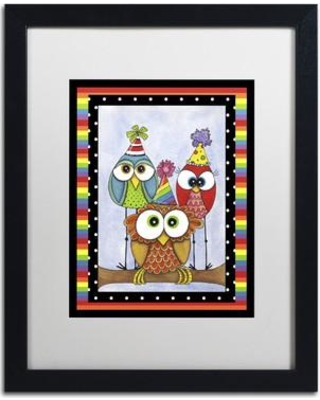 """Trademark Art 'Happy Bird-Day to You' Framed Graphic Art Print on Canvas ALI3133-B1114BMF / ALI3133-B1620BMF Size: 20"""" H x 16"""" W x 0.5"""" D Matte Color: White"""