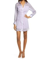 Amy Lynn Orla Long Sleeve Mini Shirtdress, Size Small in Purple at Nordstrom
