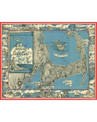 Alcott Hill Pender '1945 Miller Map of Cape Cod' Graphic Art on Wrapped Canvas BMUI9200