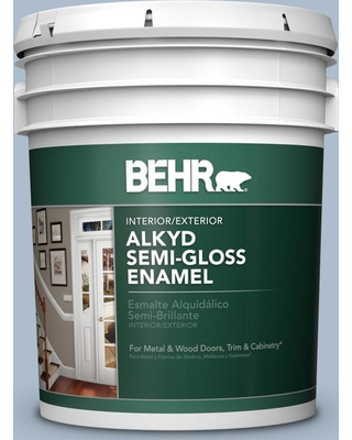 BEHR 5 gal. #570E-3 Liberty Gray Urethane Alkyd Semi-Gloss Enamel Interior/Exterior Paint