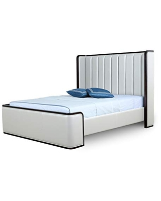 Manhattan Comfort Kingdom Mid Century Modern Bed Frame with Faux Leather Wingback Headboard, Full, Cream