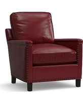 Tyler Leather Armchair with Bronze Nailheads, Polyester Wrapped Cushions, Leather Signature Berry Red
