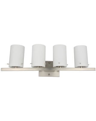 Rockies Containers 4-Light Brushed Nickel Vanity Light Bar with White Frosted Glass