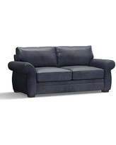 """Pearce Leather Sofa 81"""", Down Blend Wrapped Cushions, Statesville Indigo Blue"""
