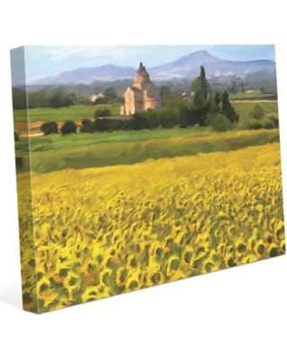 "Click Wall Art 'Provence Sunflowers' Painting Print on Wrapped Canvas LND0000325CAN Size: 24"" H x 36"" W x 1.5"" D"