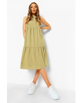 Womens Polka Dot Sleeveless Midi Smock Dress - Green - 4