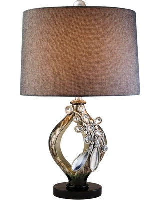 ORE International 28 in. Brown with Streaks of Soft Gold Belleria Table Lamp with Crystal and Mirror Flower Accent