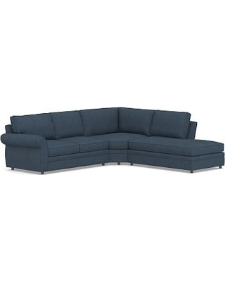 Pearce Roll Arm Upholstered Left 3-Piece Bumper Wedge Sectional, Down Blend Wrapped Cushions, Performance Heathered Tweed Indigo