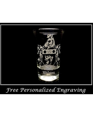 Wilson Irish Family Coat of Arms Shot Glass 2oz - Free Personalized Engraving