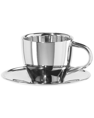 Oggi™ Double Wall Coffee Cup and Saucer in Stainless Steel