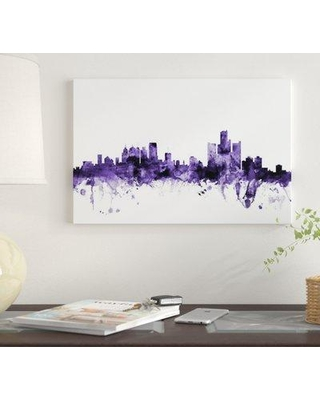 """East Urban Home 'Detroit Michigan Skyline' by Michael Tompsett Graphic Art Print on Wrapped Canvas EUME4826 Size: 18"""" x 26"""" x 1.5"""""""